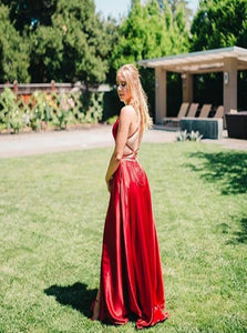 A Line High Slit Lace Up Red Satin Prom Dresses