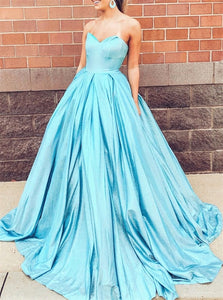 A Line Sweetheart Blue Sweep Train Prom Dresses with Pleats