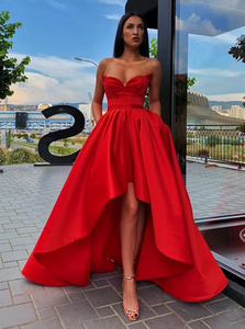 A Line Sweetheart Neck Red High Low Satin Sleeveless Prom Dresses