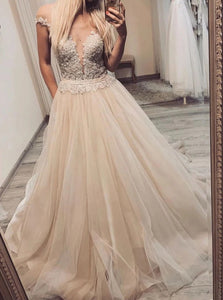 A Line V Neck Off the Shoulder Tulle Appliques Prom Dresses