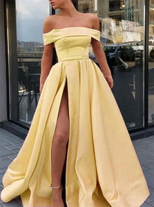 A Line Off the Shoulder Satin High Slit Yellow Prom Dresses