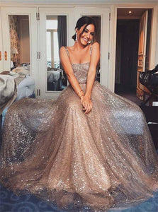 A Line Sparkly Spaghetti Straps Sequined Floor Length Prom Dresses