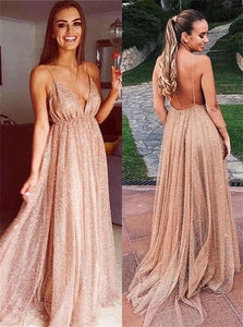 Champagne V Neck Sequins Backless Sweep Train Prom Dresses