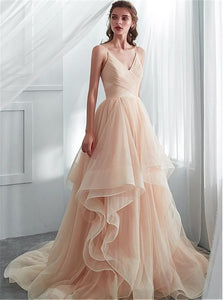 A Line V Neck Pink Sweep Train Prom Dresses With Pleats