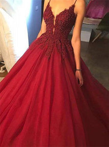 Ball Gown V Neck Sweep Train Red Prom Dresses
