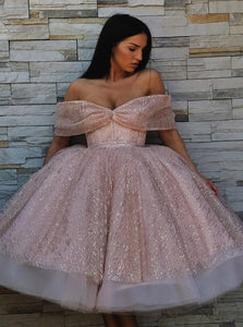 A Line Off the Shoulder Sequins Pink Prom Dresses