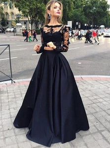 Black Ball Gown Long Sleeves Bateau Satin Appliques Floor Length Prom Dresses
