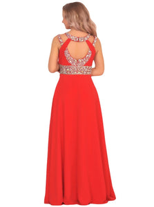 Scoop A Line Chiffon Open Back Prom Dresses With Beadings and Slit