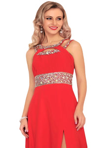 Scoop A Line Chiffon Floor Length Prom Dresses With Beadings and Slit