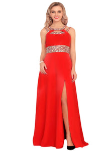 Scoop A Line Chiffon Prom Dresses With Beadings and Slit