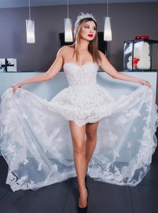 Lace High Low Appliques Sweetheart Ivory Prom Dresses