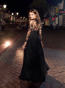 Long Sleeves A Line Chiffon Prom Dresses With Applique Floor Length