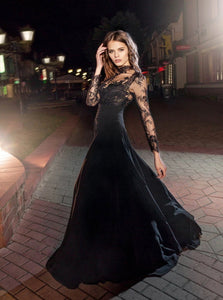 High Neck Long Sleeves A Line Chiffon Prom Dresses