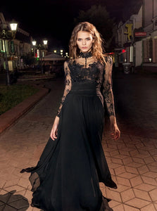 High Neck Long Sleeves A Line Chiffon Prom Dresses With Appliques