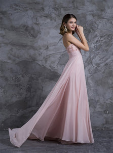 Sweetheart Sweep Train Chiffon Prom Dresses With Beadings