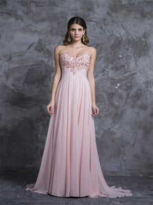 A Line Sweetheart Chiffon Prom Dresses With Beadings