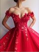 Ball Gown Red Tulle Prom Dresses with Appliques