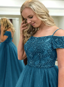 A line Open Back Beadings Floor Length Prom Dress With Short Sleeves