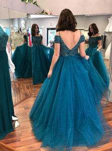 A line Open Back Beadings Blue Tulle Prom Dress With Short Sleeves