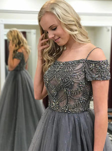 A line Open Back Beadings Prom Dress With Short Sleeves
