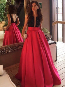 Chic A Line Sequins Scoop Satin Prom Dresses