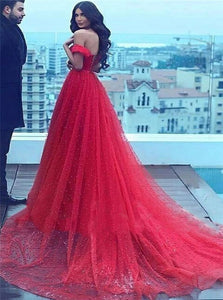 A Line Red Off The Shoulder Tulle Lace Up Pleats Prom Dresses