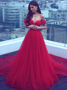 A Line Red Off The Shoulder Tulle Lace Up Prom Dresses with Beadings