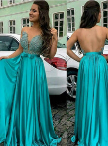 A Line Strapless Floor Length Backless Satin Prom Dresses with Appliques