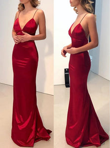 Sheath Burgundy Backless Satin Prom Dresses