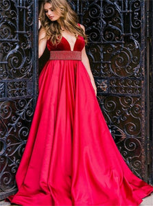 A Line Deep V Neck Satin Open Back Prom Dresses with Beadings