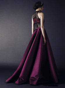 A Line High Neck Floor Length Rhinestone Purple Satin Prom Dresses