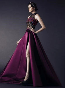 High Neck Floor Length Rhinestone Purple Satin Sleeveless Prom Dresses