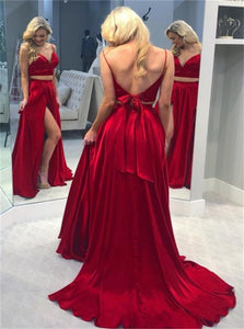 A Line Satin Prom Dresses Appliques and Slit