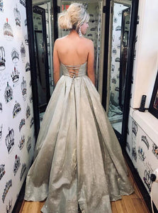 Chic Sequins Ball Gown Lace Up Sweetheart Silver Prom Dresses