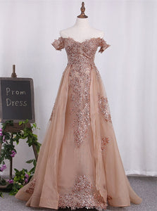 Off The Shoulder Sheath Organza With Appliques Golden Prom Dresses