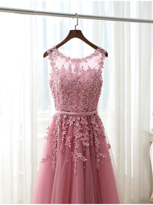 Lace Applique Scoop Short Prom Dress LBQ0474