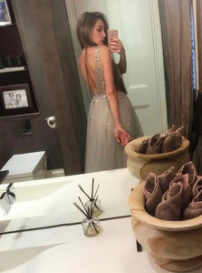Chic A Line V Neck Silver Tulle Rhinestones Backless Prom Dresses with Beadings