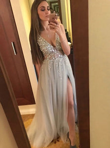 Chic A Line V Neck Silver Tulle Rhinestones Prom Dresses with Beadings