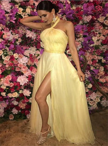 A Line Halter Sweep Train Yellow Tulle Slit Prom Dresses with Pleats