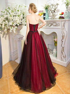 Burgundy Sweetheart Tulle A Line Lace Up Floor Length Prom Dresses