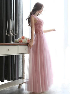 A Line Scoop Floor Length Sleeveless Tulle Lace Up Prom Dresses