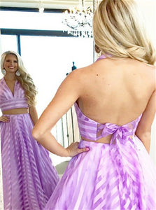 Deep V Neck Lace Up Purple Striped Tulle Sweep Train Prom Dresses
