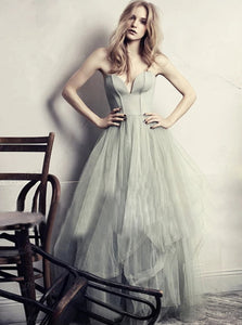 A Line Silver Sweetheart Sleeveless Tulle Prom Dresses