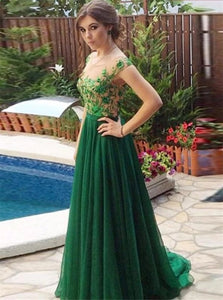 A Line Scoop Floor Length Tulle Prom Dresses with Appliques and Belt