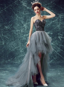 A Line Silver Sweetheart Beadings Tulle Prom Dresses