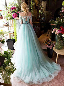 Green A Line Off the Shoulder Tulle Lace Up Half Sleeves Prom Dresses