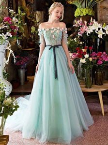 A Line Off the Shoulder Tulle Lace Up Prom Dresses