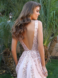 Pink Lace Tulle Appliques Open Back Scoop Sweep Train Prom Dresses