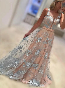Charming A Line Bateau Floor Length Tulle Prom Dresses