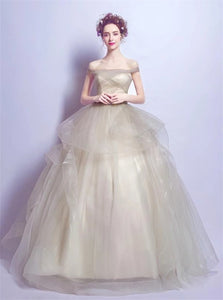 Ball Gown Off the Shoulder Tulle Pleats Prom Dresses